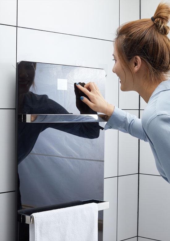 Mirror wall-mounted heated towel warmer